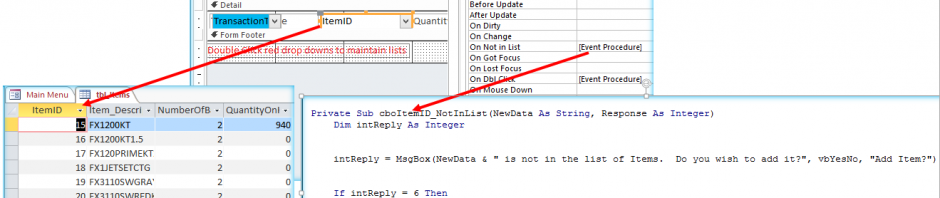 Combo box notinlist limit to list property